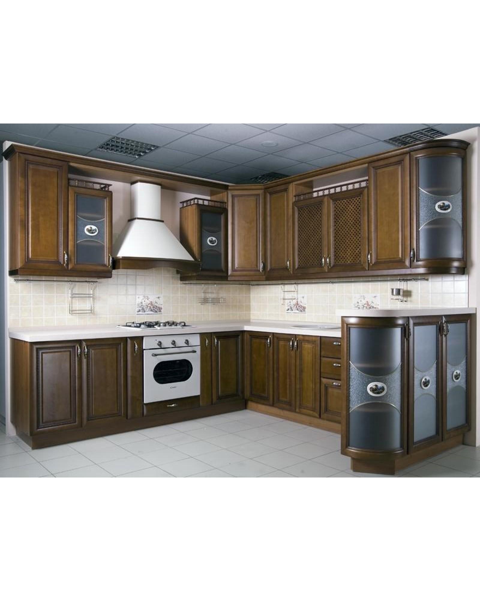 Кухня из массива ясеня П-образная 041