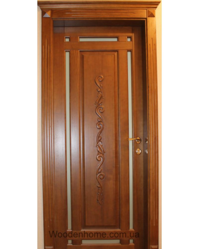 Двери из ольхи с резьбой