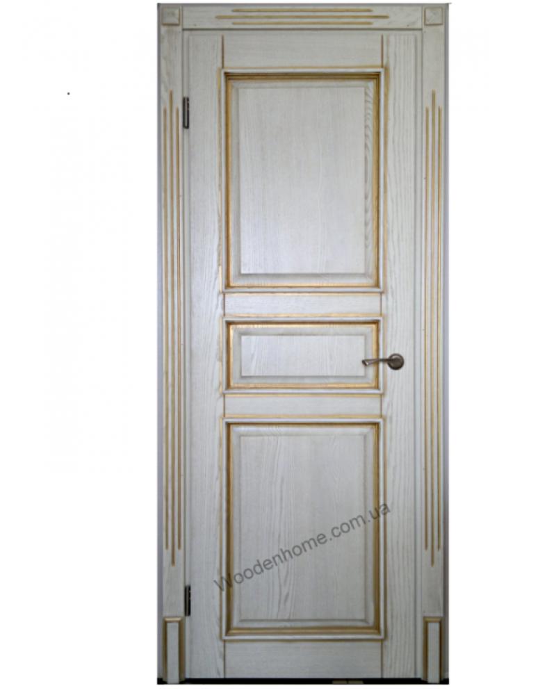 Двери с ясеня с золотистой патиной модель 13.10